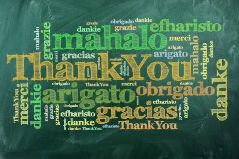 thank you in different languages on green chalkboard